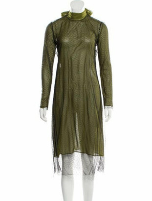 Gucci Mesh-Accented Long Sleeve Dress w/ Tags Green