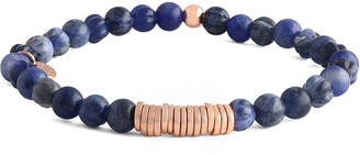 Tateossian Men's Sodalite & Disc Bracelet, Rose Golden