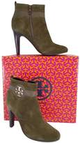 Tory Burch Olive Suede Booties