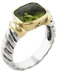 David Yurman Vintage Sterling Silver, 14K Yellow Gold & Peridot Noblesse Ring