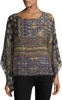 Neiman Marcus Graphic-Print Woven Tunic