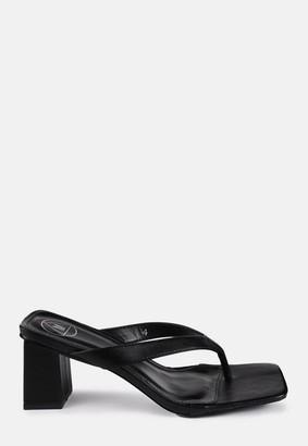 Missguided Black Block Heel Flip Flop Sandals