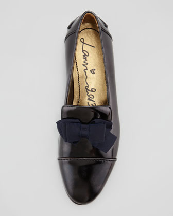Lanvin Leather Slipper with Bow, Black