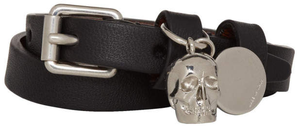 Alexander McQueen Black and Silver Skull Double-Wrap Bracelet