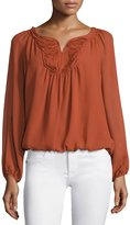 Max Studio Long-Sleeve Yoke Blouse, Terracotta
