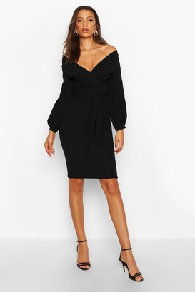 boohoo Tall Off The Shoulder Wrap Midi Bodycon Dress