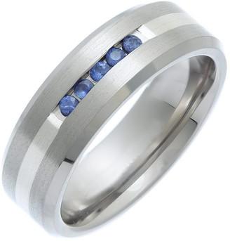 Theia Unisex Titanium and Silver Inlay Flat Court 5 Blue Sapphires Matt 7 mm Ring - Size P