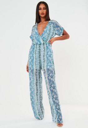 Missguided Blue Snake Print Wrap Romper
