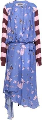 Preen Line Draped Printed Crepe Midi Dress