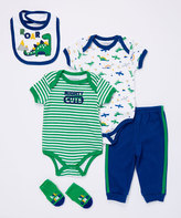 Buster Brown Limoges & Green 'Mighty Cute' Five-Piece Bodysuit Set