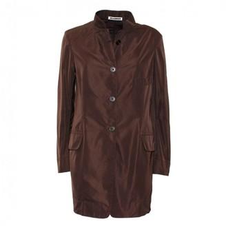 Jil Sander Brown Silk Trench Coat for Women