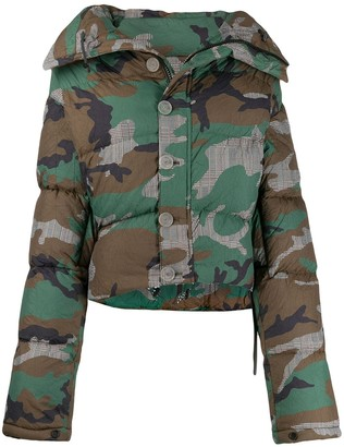 Unravel Project camouflage print puffer jacket
