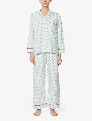 POUR LES FEMMES Snowflake-print cotton-poplin pyjama set