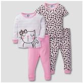 Gerber Toddler Girls' 4pc Kitty Leopard Print Mix N' Match Snug Fit Cotton Pajama Set