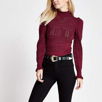 River Island Petite red puff sleeve pointelle knitted top