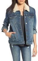 BP Women's Faux Shearling Collar Denim Jacket