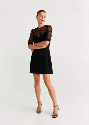 MANGO Lace panel dress black - 2 - Women