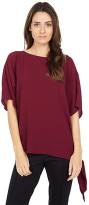 MICHAEL Michael Kors Lightweight Textured Crepe Side Tie (Dark Ruby) Women's Clothing