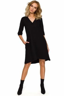 Moe   Made Of Emotion MOE - made of emotion V-Neck Knit Womens Dress - Black 42 | XL