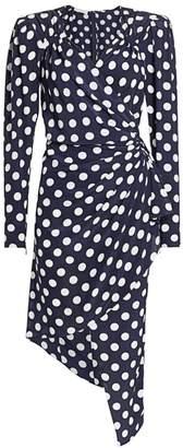 Michael Kors Polka Dot Silk Asymmetric Wrap Dress