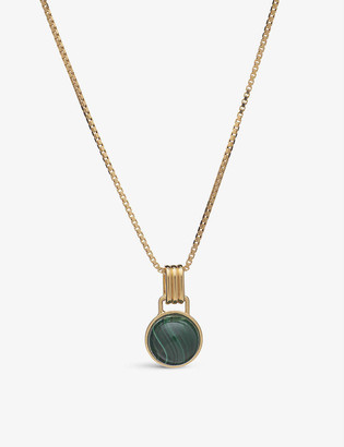 Rachel Jackson Malachite cabochon 22ct yellow gold-plated sterling-silver necklace
