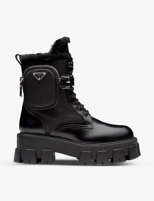 Prada Monolith leather and nylon combat boots