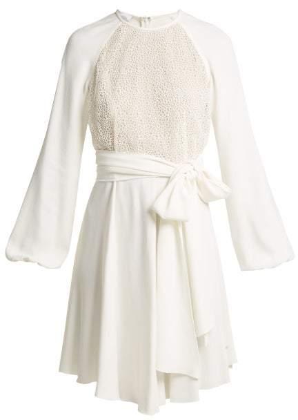 Giambattista Valli Pois Lace And Crepe Mini Dress - Womens - White