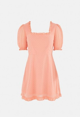 Missguided Peach Dobby Flutter Sleeve Skater Dress