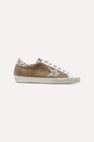 Golden Goose Superstar Distressed Leather And Suede Sneakers - Taupe