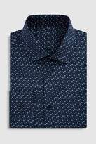 Mens Next Navy Regular Fit Single Cuff Floral Print Signature Shirt