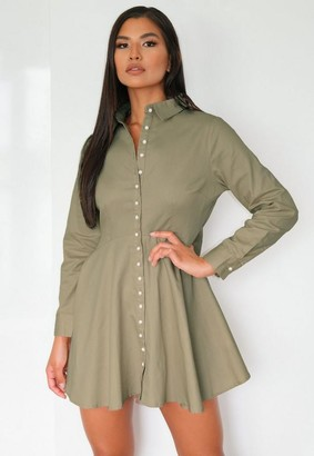 Missguided Sage Pearl Button Shirt Dress