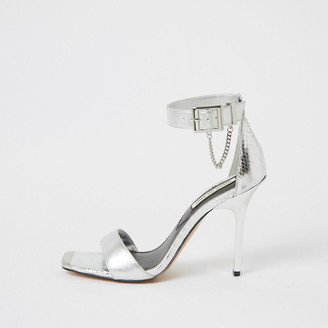 River Island Silver metallic barely there heeled sandals