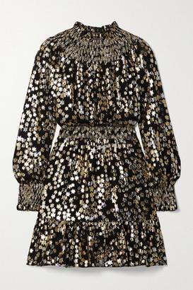 MICHAEL Michael Kors Smocked Metallic Fil Coupe Silk-blend Chiffon Mini Dress