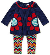 Rare Editions Baby Girl 3-24 Months Flower-Appliqued-Pocket Dress & Chevron-Printed Leggings Set
