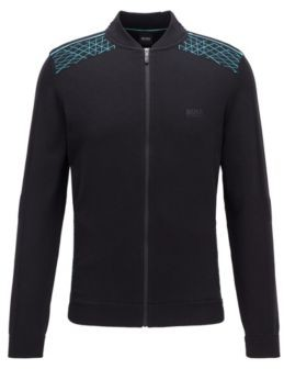HUGO BOSS Zip-through knitted cardigan with placed graphic pattern