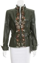 Valentino Leather Embroidered Jacket