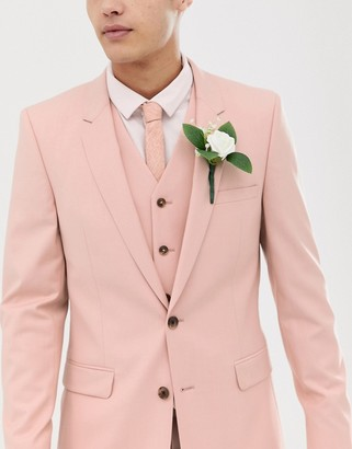 ASOS DESIGN wedding skinny suit jacket in rose pink