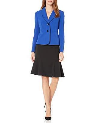 Le Suit Women's 1 Button Shawl Collar Crepe FIT & Flare Skirt Suit