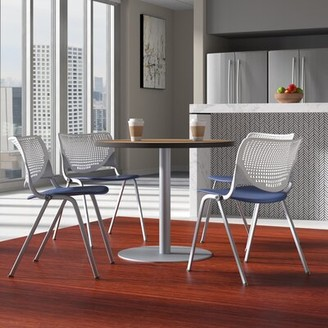 """KFI Studios Round Breakroom Table and Chair Set Size: 29"""" H x 36"""" L x 36"""" W, Top Finish: Cherry/White/Black"""
