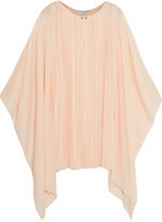 Vionnet Draped plissé silk-blend and crepe top
