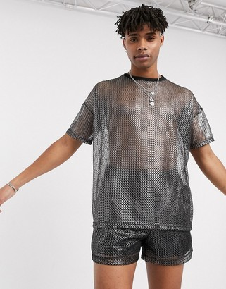 One Above Another oversized co-ord mesh t-shirt in metallic silver