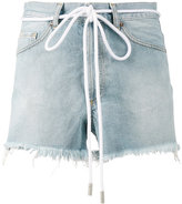 Off-White drawstring cut-off denim shorts - women - Cotton - 27