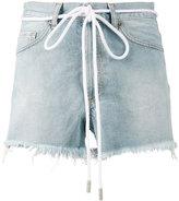 Off-White drawstring cut-off denim shorts - women - Cotton - 28