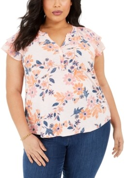 Style&Co. Style & Co Plus Size Printed Flutter-Sleeve Top, Created for Macy's