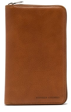 Brunello Cucinelli Grained-leather Travel Wallet - Mens - Brown