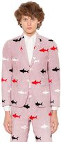 Thom Browne Sharks Embroidered Seersucker Jacket