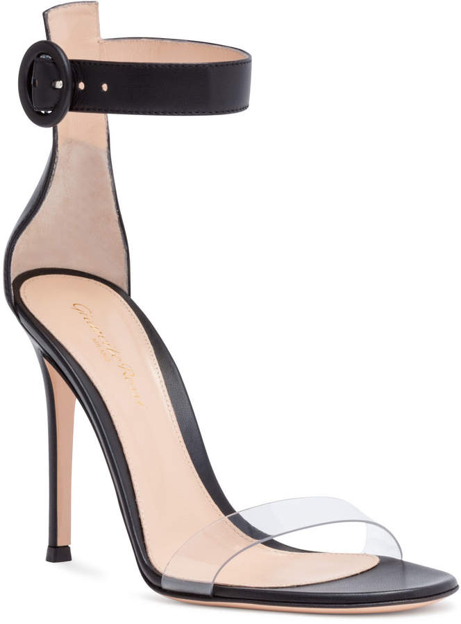 Gianvito Rossi Stella 105 Black Plexi Leather Sandals