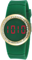 JCPenney TKO ORLOGI Womens Crystal-Accent Green Silicone Strap Touch Digital Sport Watch