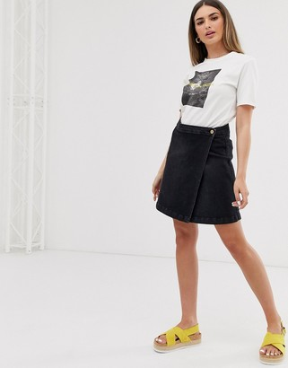 JDY wrap over denim mini skirt