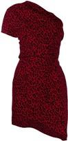 Saint Laurent leopard one shoulder dress